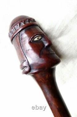 1800s ANTIQUE CARVED HARDWOOD WALKING STICK. BLACK W. AFRICAN SLAVE ZULU KING