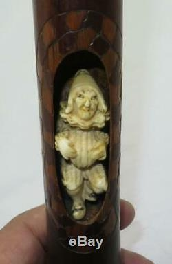 18th C English Bamboo Carved Figurine Jester Novelty Walking Stick Handle