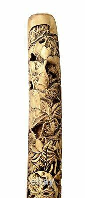 19C Japanese Stag Antler Horn Carved Carving Cane Walking Stick Parasol Handle