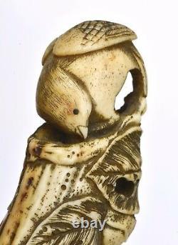 19C Japanese Stag Antler Horn Carved Walking Stick Cane Handle Brigg London