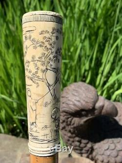 19th C beautiful antique Asian Scrimshaw Hand Carved Walking stick Cane