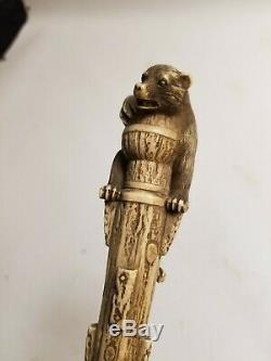 19th Century Asian Carved Bear Cane Walking Stick