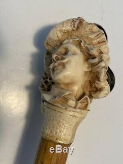 19th Century Renaissance Man Beautifully Carved Walking Stick Cane