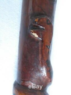 19thc. Antique Folk Art Cane Walking Stick Carved and 37 tall