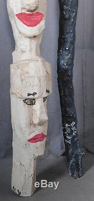 2 Vintage Kentucky Outsider Folk Art SIGNED Walking Stick Carved Wood Totem Pole