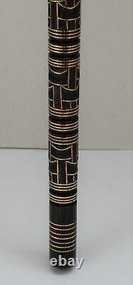 36 Egyptian Hand carved Ebony Wood Walking Cane Stick, Brass & copper Inlay #12