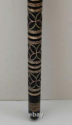 36 Egyptian Hand carved Ebony Wood Walking Cane Stick, Brass & copper Inlay #16
