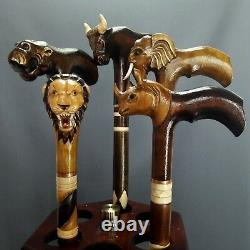 5 pcs Great African Five Hand Carving Walking Stick Handmade Cane Hiking Stick