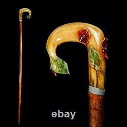 A Decorative Carved Floral Horn Walking Cane Stick C. 20th C