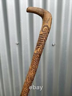 A Fine Antique Walking Stick Cane Profusely Carved with Maori Tribal Designs