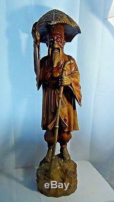 ANTIQUE 19c CHINESE LARGE TEAK WOOD CARVED OLD MAN WITH A WALKING STICK STATUE