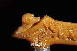 ANTIQUE CARVED BAKELITE DOG HEAD WALKING STICK CANE with STERLING SILVER BAND
