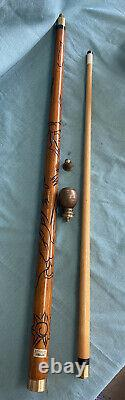 ANTIQUE WALKING STICK POOL CUE GADGET CANE burnt carving of dragon heavy brass