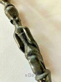 African CARVED 38 EBONY CANE/WALKING STICKDOUBLE FULL FIGURE BUST Exc. Cond