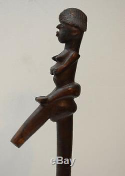 African Cane Lobi Tribe Walking Stick Figure Carved Handle Burkino Faso