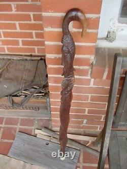 African Head Walking stick Wooden Cane Hand made carved face Wall Art Man Cave