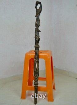 African Tribal Leader Walking Stick Handmade Carved Wooden Cane Antique ART