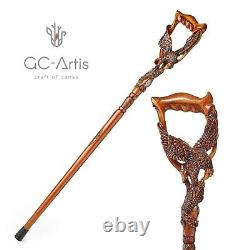 American Eagle Walking Stick Cane Dark Wood Carved Hand Crafted gift for men