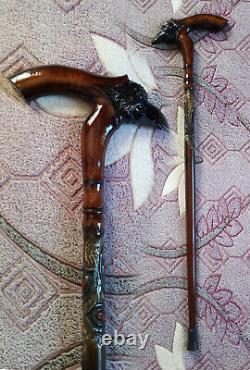 Anes and walking sticks. Wod walking cane raven. Walking stick raven. Cane Carved