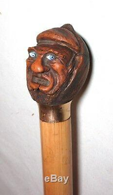 Antique 1800's Folk Art hand carved figural nut wood gold cane walking stick