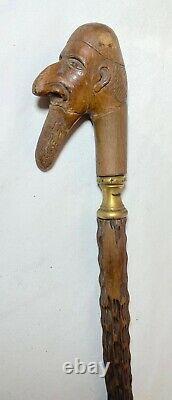 Antique 1800's hand carved man figural wood brass Folk Art walking stick cane