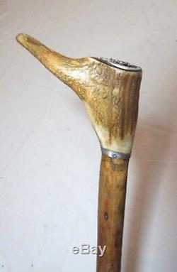 Antique 1800s Victorian sterling silver carved stag horn wood walking stick cane