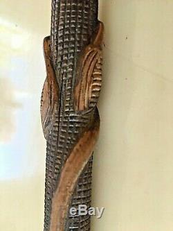 Antique 1837 Y. Paris 18k. Gold Hard Carved Wood Silver Walking Stick Lizard