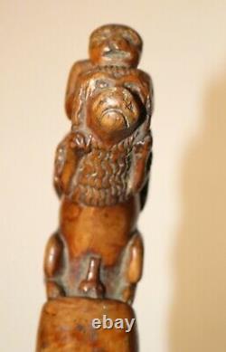 Antique 18th century hand carved wood Folk Art monkey lion walking stick cane