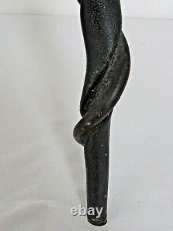Antique 19th Century Folk Art Carved Wood Snake Cane Walking Stick