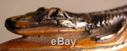 Antique 19th Century Wooden Cane Walking Stick Carved Alligator / Crocodile