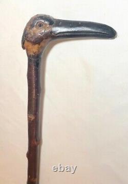 Antique 19th century hand carved bird head wood Folk Art walking stick cane iron