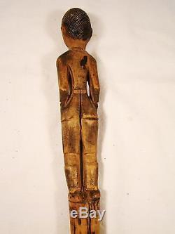 Antique American Folk Art Wood Carving Figural Carved Walking Stick Cane 36 3/4