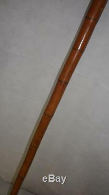 Antique Antler Hand Carved Grotesque Face WithGlass Eyes Gents Walking Stick 100cm