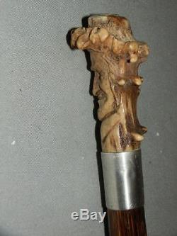 Antique AntlerHallmarked FATHER TIMES Wood Spirit Carved Folk-Art Cane
