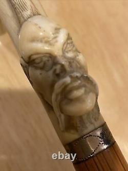 Antique Asian Rare Carved Bone Victorian Scrimshaw Walking Stick/cane Fu Manchu