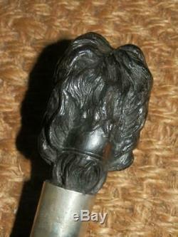 Antique BRIGG London Walking Stick -Carved Spaniel Head & Silver Collar H/m 1919