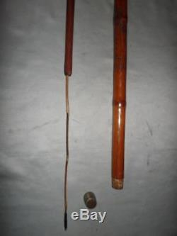 Antique Bamboo Chinese Carved Walking Stick With Concealed Fishing Rod