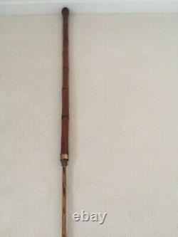 Antique Bamboo Oriental Carved Walking Stick With Concealed Fishing Rod. Rare