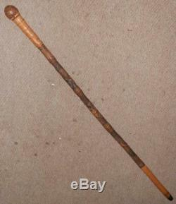 Antique Bamboo Walking Stick With Hand-Carved Japanese Samurai Warrior Shaft