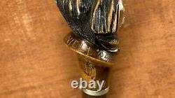 Antique Beautiful Hand Carved American Folk Art Wooden Indian Face Cane 1924