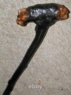 Antique Black Thorn Rustic Hand-Carved Two Caricature Faces Walking Stick/Cane