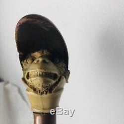 Antique Bone Carved Monkey Jockey Head Walking Stick Dress Cane 19th Century