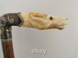 Antique Bovine Bone Stag Head Carved & Sterling Silver Walking Cane