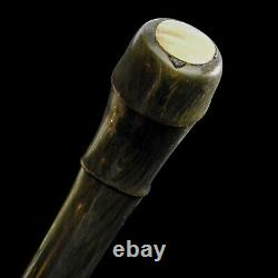 Antique Bovine Horn Walking Stick Cane Carved Segmented Mother of Pearl