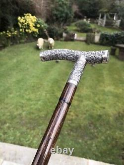 Antique Burmese Chinese Solid Silver Walking Stick carved lion elephant dog tree