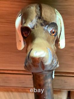 Antique Carved Dog Head Walking Stick/Cane