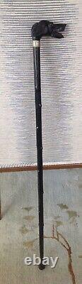 Antique Carved Figural Dog Head Walking Stick Cane