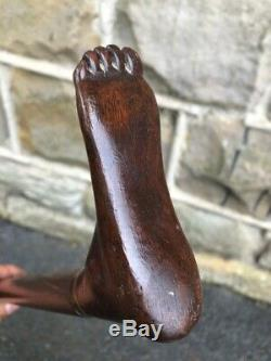 Antique Carved Foot Walking Stick