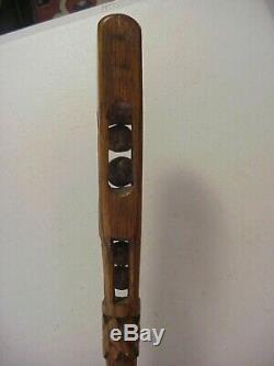Antique Carved Oak PUZZLE CANE WALKING STICK with 4 BALLS & SPIRAL SNAKE & LIZARD