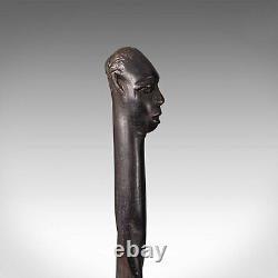 Antique Carved Walking Cane, African, Ebony, Tribal Stick, Figure, Victorian
